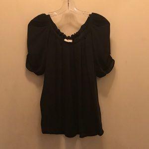 Joie Eleanor gathered silk blouse black
